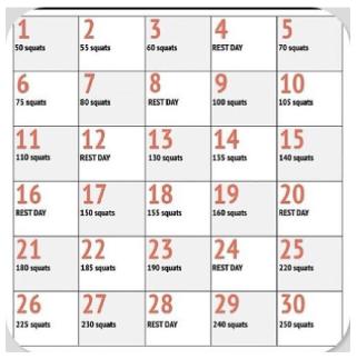 30-дневная программа приседаний